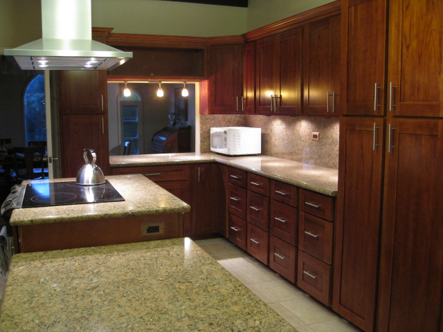 Red Mahogany Kitchen Cabinets Golden Cabinets u0026 Stone